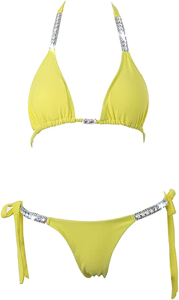 deladola Glitter Rhinesone Bikini Swimsuit Set Yellow Crystal Body Chain Halter Backless V Neck Bra Panties Sets Sexy Clubewear Body Chain Party Chest Chain Jewelry Accessories for Women and Girls