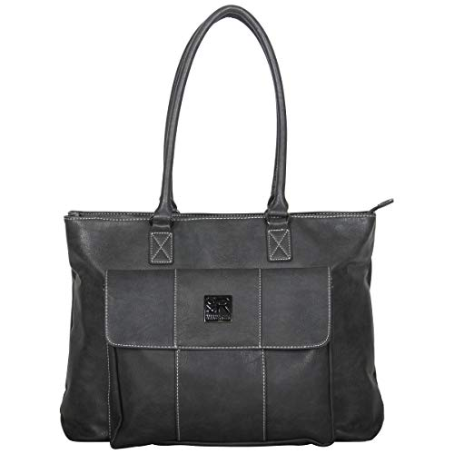 """Kenneth Cole Reaction Women's Casual Fling Pebbled Faux Leather 16"""" Laptop Business Travel Tote, Charcoal, Top Zip"""