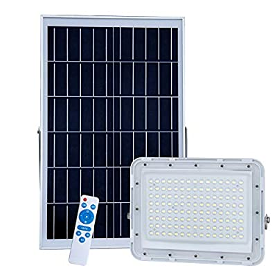 LED Solar Flood Lights with Remote Control Sensing Auto On/Off for Yard, Garden, Gutter, Swimming Pool, Basketball Court,Pathway