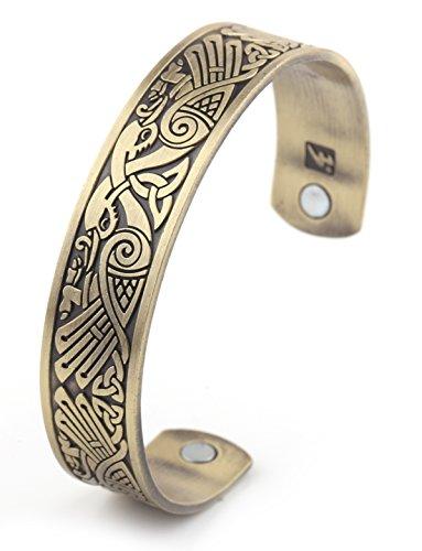My Shape - Pulsera magnética para cuidado de la salud, con diseño de cuervo, de estilo vikingo, irlandés, joyas con motivos paganos, aves, talismán