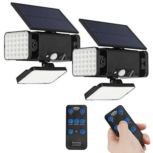 2pcs Solarleuchten Outdoor Bewegungssensor, 90 LED Solar Flutlicht mit Fernbedienung 3 Kopf Landschaftsscheinwerfer Wasserdichte IP65 Lampe Helle Sicherheit Gartenleuchte