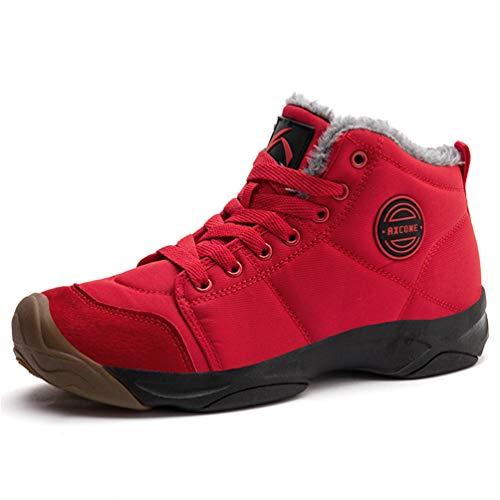 Axcone Winterschuhe Damen Herren Warm Gefüttert wasserdicht Winterschuhe Winter Outdoor Boots Wanderstiefel Stiefel Unisex - Rot 38EU