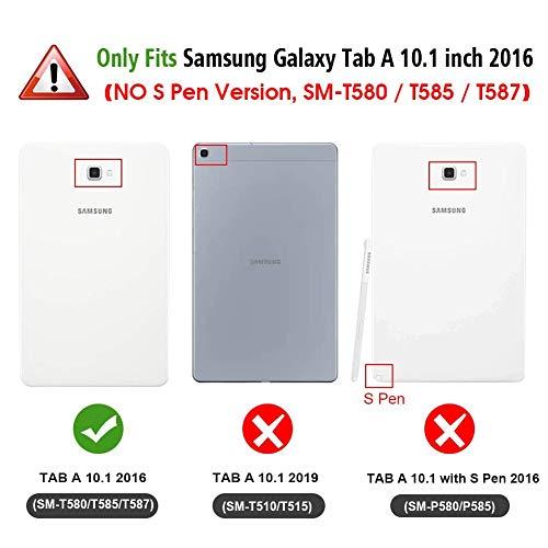 CaseFun Samsung Galaxy Tab T580 Hülle, PU Leder Tasche Cover Schutzhülle Schale Etui für Samsung Galaxy Tab A 10,1 Zoll T580 / T585 mit Auto Aufwachen/Schlaf Schmetterling