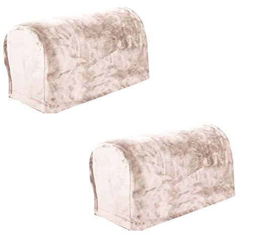 HANHAN - Copri braccioli in morbido velluto, elastico, antipolvere, resistente, rimovibile e liscio, per poltrona reclinabile, divano, soggiorno, casa (albicocca)