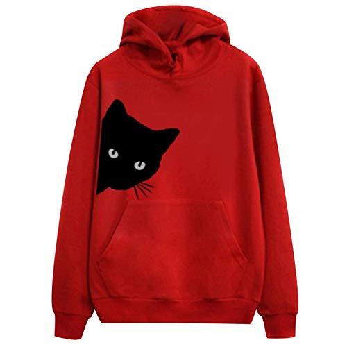 Sudadera con capucha para mujer, para otoño e invierno, manga larga, con estampado de gato, informal, manga larga, cuello en V, jersey, camisa, blusa, túnica rojo XXL