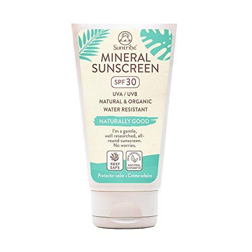 Suntribe Mineralische Bio-Sonnencreme LSF 30 - Körper & Gesicht - 100% Mineralischer UV-Filter (Nanofreies Zinkoxid) - Reef Safe/Riffsicher - 7 Inhaltsstoffe - Wasserfest (60 ml)