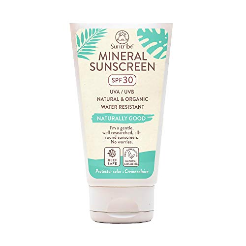 Crema Solare Minerale Corpo & Viso Suntribe FPS 30 - Biodegradabile - Biologico - 8 Ingredienti - Resistente all'acqua - Nuovo: leggermente colorato/meno visibile (60ml)