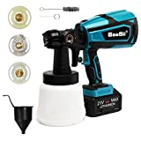 Cordless Paint Sprayer Gun, Seesii Battery Powered Paint Prayer, 1-Quart Container, 3 Nozzles Sizes & 3 Patterns, Easy Spraying and Cleaning for Painting Furniture, Fence, House and Chairs