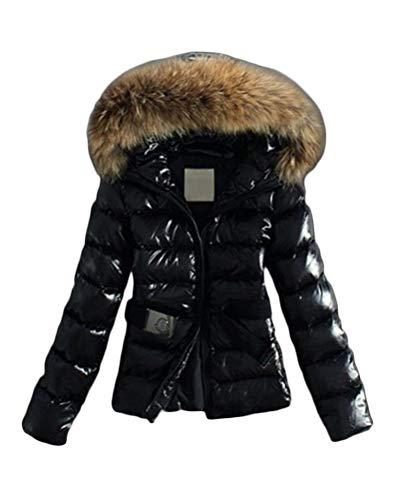 Minetom Damen Winterjacke Wintermantel Daunenjacke Jacke Outwear Frauen Winter Daunenmantel Mit Pelzkragen Mantel Steppmantel Kurz Schwarz 38