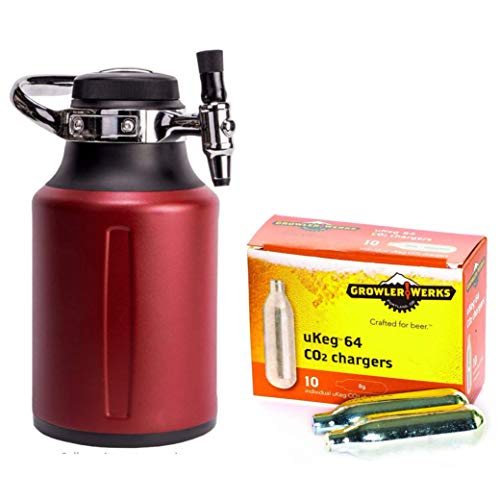 GrowlerWerks uKeg Go Carbonated Growler, 64oz, Chili, 10 CO2 Chargers