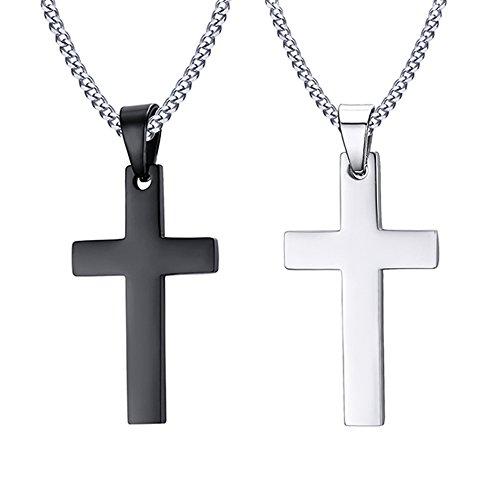 VNOX 2 Pedazos de Acero Inoxidable de los Hombres Simple Cruz Simple Collar Colgante con Cadena Libre,Plata Negro,Paquete de 2