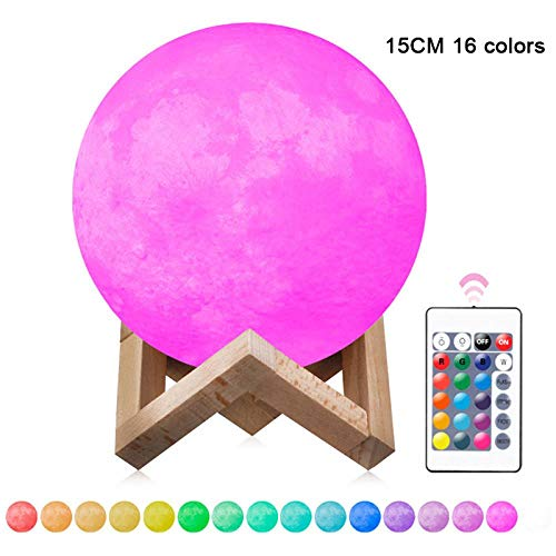 Aufladbare LED Lunar Moon Night Light 3D Moonlight Table Lamp für das Kinderzimmer LO88, Fernsteuerung (Remote Control)