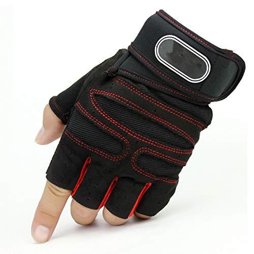 Miwaimao - Guantes tácticos para deportes al aire libre y fitness para escalada de fitness, protección solar antideslizante, color rojo, XL