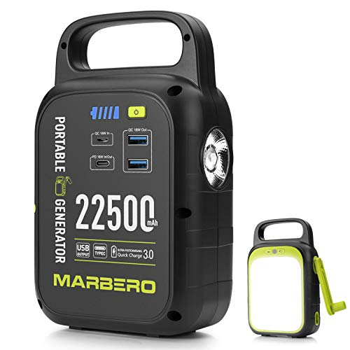 MARBERO 83.25Wh Portable Power Station Mini, 22500mAh Solar Power Bank, Power Supply with QC/PD 3.0, Solar Panel(Not Included),Hand-cranked, Bright LED Flashlight, 1.8LB Charger for Home Outdoor