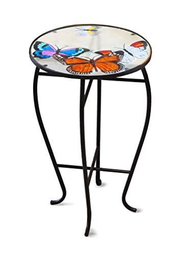 Mesa auxiliar con tablero de cristal, diseño de mariposas