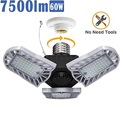 LED Garage Light, Blusmart 60W 7500lm Adjustable Three-Leaf Garage Lights with 360° Coverage, 156pcs Quality LED Chips, 50000Hr Lifespan for Garage Workshop Warehouse Use(1Pack)
