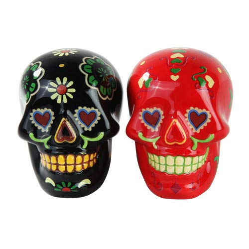 Pacific Trading 1 X Day of Dead Sugar Black & Red Skulls Salt & Pepper Shakers Set- Skulls Collection