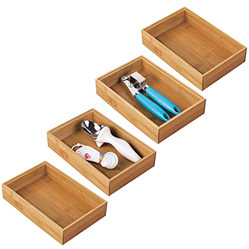 mDesign Bamboo Kitchen Cabinet Drawer Organizer Stackable Tray Bin - Eco-Friendly, Multipurpose - Use in Drawers, on Countertops, Shelves or in Pantry - 9 Long, 4 Pack - Natural Wood Finish