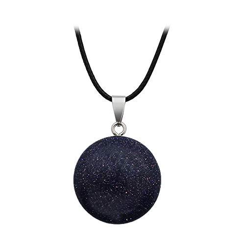 BlackAmazement Anhänger Halskette Naturstein Rosenquarz Blaufluss Blue Sand Rund Kreis rosa schwarz blau Damen (Blaufluss ohne Kette)