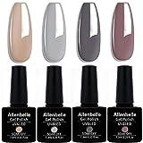 Allenbelle Smalto Semipermante Per Unghie Kit In Gel Uv Led Smalti Semipermanenti Per Unghie Nail Polish UV LED Gel Unghie(Kit di 4 pcs 7.3ML/pc) (012)