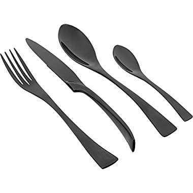 Kaya KAYA-1  Delicate Stainless Steel Flatware Cutlery Set with Mirror Finish Including Fork Spoons Knife Four Piece Tableware Dinner Set (black pearl)