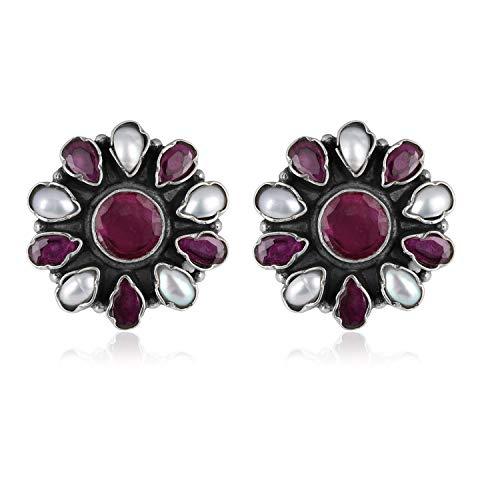 RisenshineJewel Bali Style - Juego de pendientes de tuerca con piedras natales de granate morado y perla semiprecioso, para mujer, plata de ley 925 oxidada, regalo perfecto para ella
