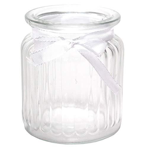 Annastore 12 x Windlichter aus Glas H 9 cm inkl. Dekoband + 12 Herzen mit Öse zum Verzieren - Teelichtgläser Vase - Glaswindlichter