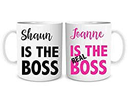 The Real Boss Personalised Mugs for Couples, Set of 2