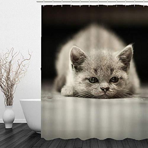 XXCZB 3D-Digitaldruck Dickes Polyester Waschbar 150 * 180 Graublau Katze Duschvorhang Antischimmel Anti-Bakteriell Wasserdichter Vorhang