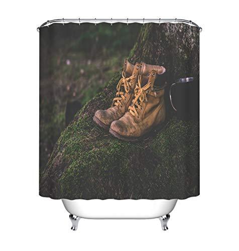 ZZZdz laarzen in het bos. Kop. Douchegordijn. 180 x 180 cm. 12 vrije haken. Huisdecoratie. 3D Hd-druk. Eenvoudig te reinigen. Badkameraccessoires.