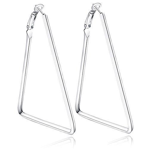 Yukhins Pendiente de aro grande geométrico simple de acero inoxidable para las mujeres niñas 5 cm