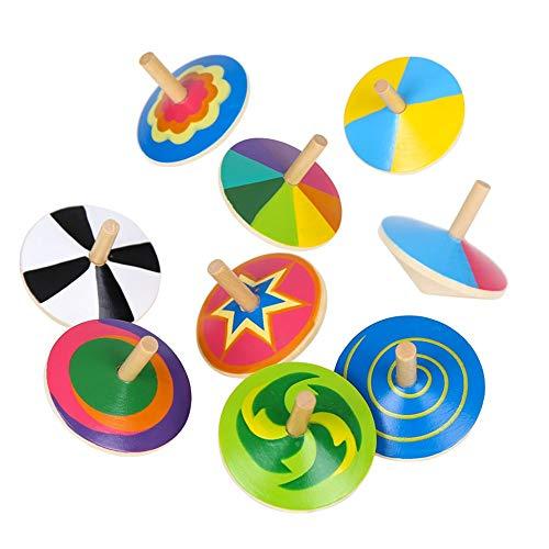 WFF Spielzeug Bunter hölzerner Spinning Top, sichere ungiftiges Holz Spielzeug kreative Handarbeit Glatte Oberfläche Holz-Spielzeug-Kindergarten Spielzeug Spaß-Geschenk (Color : 3set)