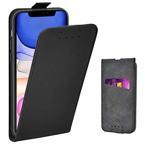 Adicase iPhone 11 Hülle Leder Tasche für Apple iPhone 11 Handyhülle Flip Hülle Schutzhülle (Schwarz)
