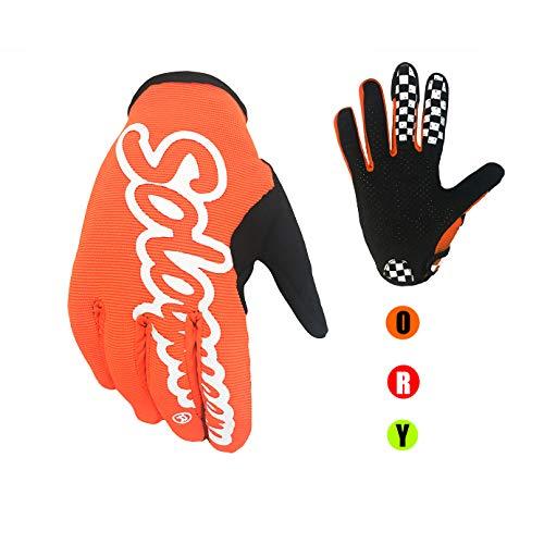 SOLO QUEEN Guantes de Volante Gaming y Moto y Bicicleta y ATV para Verano Una Sola Capa Ciclismo Adulto Unisexo Coloreado Antideslizante (L, naranja)