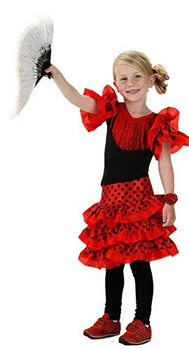 Folat 21828 Spanisch Flamenco-Kleid für Mädchen, (Größe 116-134, Medium), rot