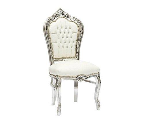MaxioccAction Stuhl im Barockstil, Gestell aus Holz, Finish Silber, Kunstleder Farbe Weiß