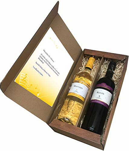 Rotwein und Weisswein Wein Geschenkset aus Istrien Geschenke für Männer Geschenkideen im 2er Weinkarton Geschenkbox im Wooden Design (Einweg)