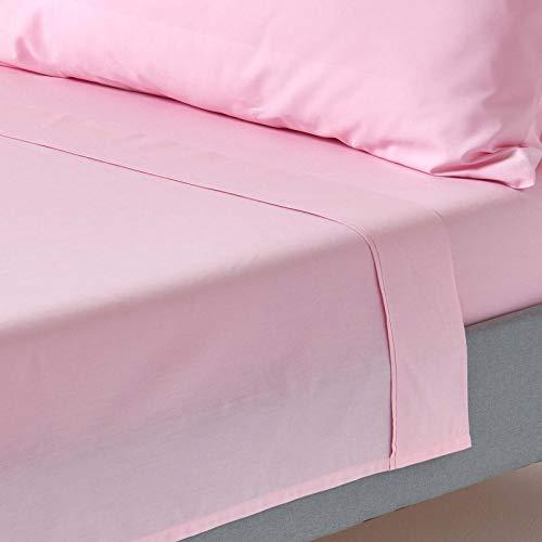 Homescapes Drap Plat Rouge de Luxe pour 2 Personnes de 275 x 275 cm en Pur Coton peigné d'Egypte (qualité Percale 80 Fils/cm²)