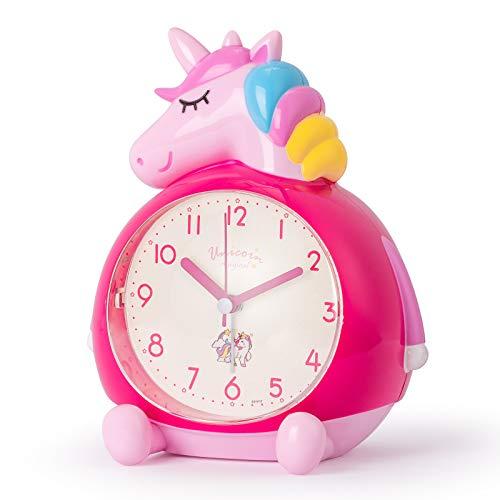 KOROTUS COLLECTION Kinderwecker, Einhorn Musik Wecker Reiseweckerkein Lärm kein tickender Wecker Schlummer- und Nachtlichtfunktionn Mädchenwecker Schlafzimmerwecker--rosa red
