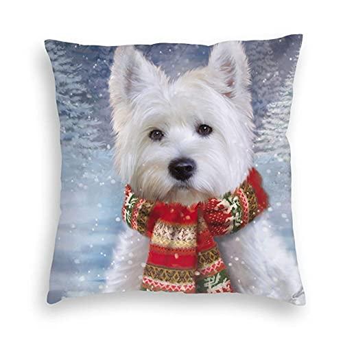 Lewiuzr Navidad, Navidad, Westie West Highland Terrier, Regalo de Perro, Fundas de Almohada cuadradas, decoración de Coche, Funda de cojín para sofá, Dormitorio 22X22 Pulgada