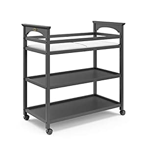 Graco Lauren Changing Table with Water-Resistant Change Pad & Safety Strap, Multi Open Storage Nursery Changing Table for Infants or Babies, Gray