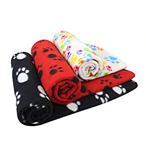 AK KYC 3 Pack 40x 28 inch Puppy Blanket Cushion Dog Cat Fleece Blankets Pet Sleep Mat Pad Bed Cover with Paw Print Kitten Soft Warm Blanket for Animals