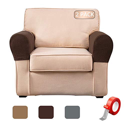 Anti-Slip Spandex Armrest Cover for Leather Sofa Stretchy Polyester Double-Layer Thick Fabric Recliner Armchair Couch Slipcover Furniture Protector, Set of 2 (Chocolate)