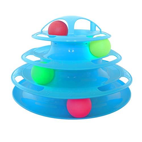 peschak* Katzenspielzeug, vierfache Kugelbahn, interaktiv, Spielturm mit 4 bunten Bällen