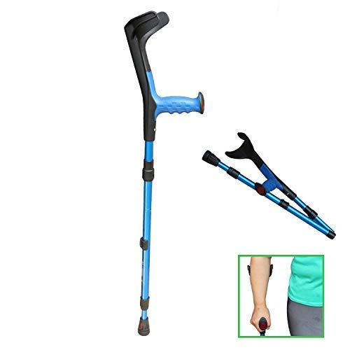XYSQWZ Forearm Crutches (1 Unit) Open Cuff Crutch Walking Elbow Crutches 10 Height Adjustable Stops Lightweight Easy to Carry Foldable Blue
