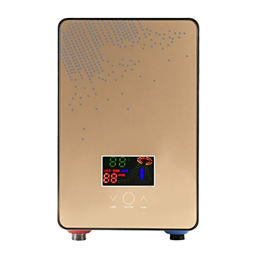 Calentador de Agua electrico, Calentador de Agua instantáneo, Calentador de Agua eléctrico sin Tanque de 220V 6500W con Pantalla Digital LED montada en la Pared