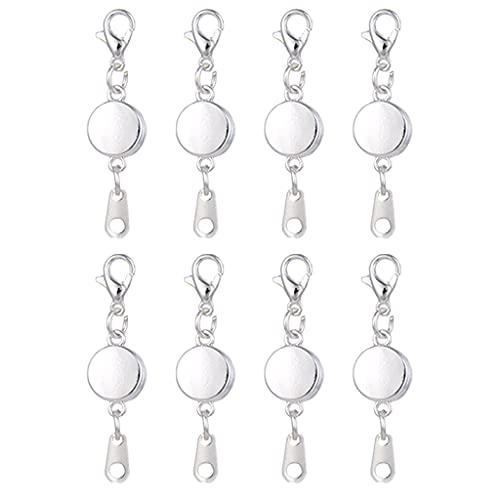 MYBOON Cierres magnéticos de Bloqueo Collar Redondo de Diamantes de imitación Pulsera Cierres de Broche de Langosta Cadenas Extensibles para Hacer Joyas Collar Extensor de Plata