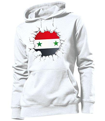 Golebros Syrien Syria Fussball Fußball Trikot Look Jersey fanhoodie Damen Frauen Hoodie Pulli Sweatshirt Kapuzen Pullover Fan Fanartikel Outfit Bekleidung Oberteil Artikel