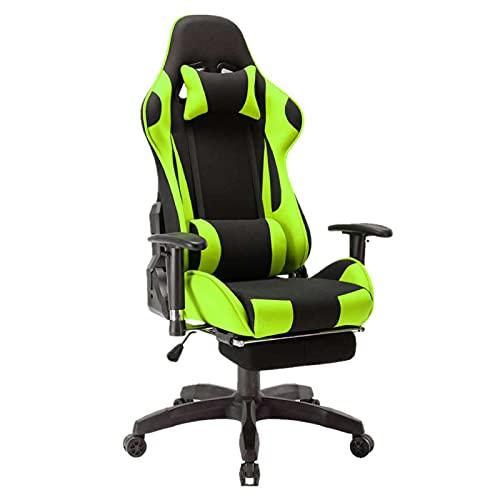 Silla de juegos, E-Sports con diseño ergonómico reclinable, silla giratoria de piel sintética con respaldo alto y cojín lumbar y reposacabezas verde