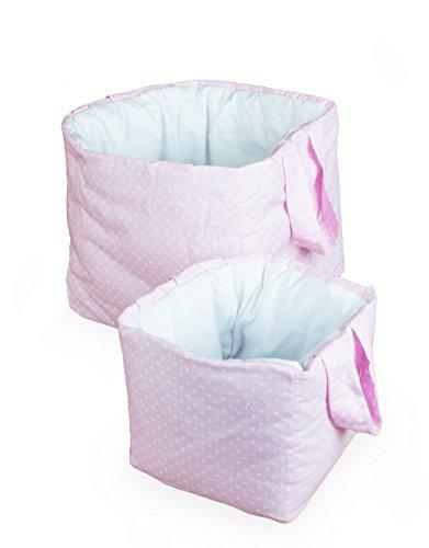 Vizaro - Utensilo/Großes gepolstertes und Kleines Körbchen für das Babyzimmer/Kinder- 2 Pack Einheiten - 100% REINE BAUMWOLE - Made in EU - ÖkoTex - K. Rosa Und Weiß